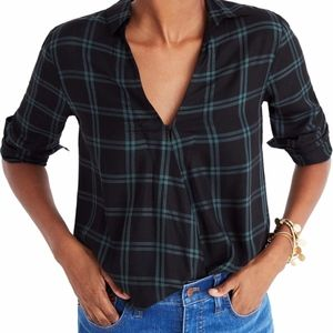 Madewell Plaid Faux Wrap Shirt